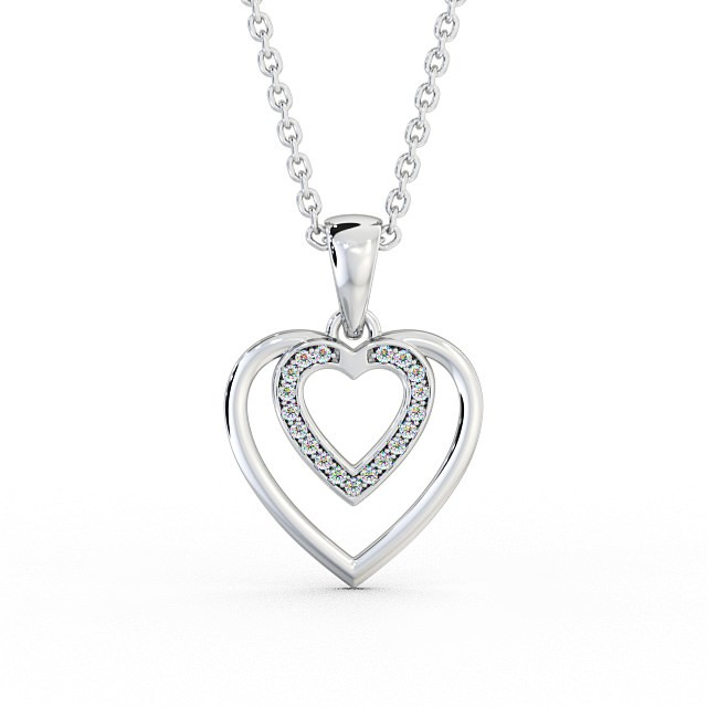 Double heart open peardrop diamond set pendant PNT102 Image