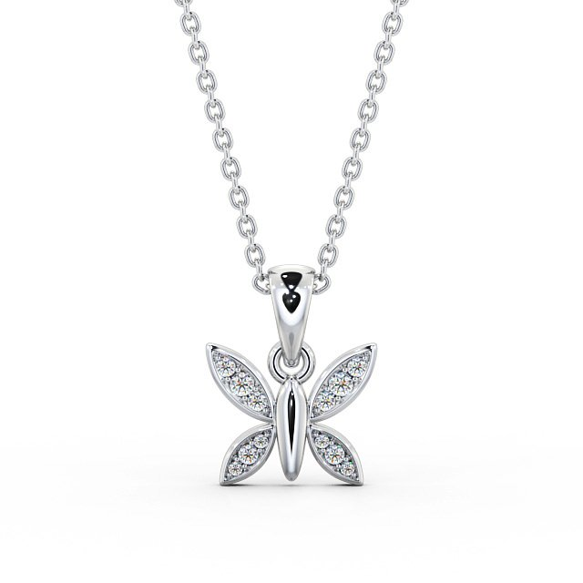 Butterfly diamond set open wings pendant PNT108 Image