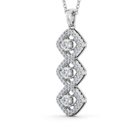 Triple diamond cluster drop pendant PNT64 Image