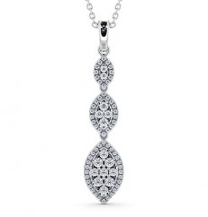 Triple diamond cluster drop pendant PNT66 Image