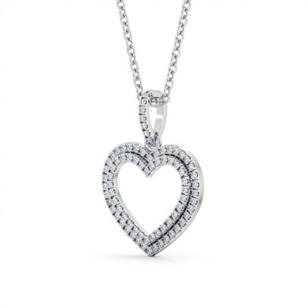 Open heart diamond cluster drop pendant PNT71 Image