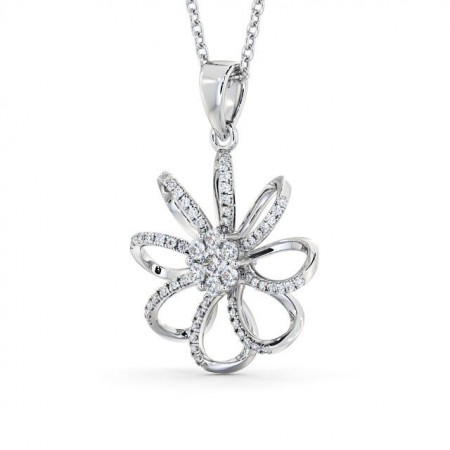 Open flower diamond cluster drop pendant PNT72 Image