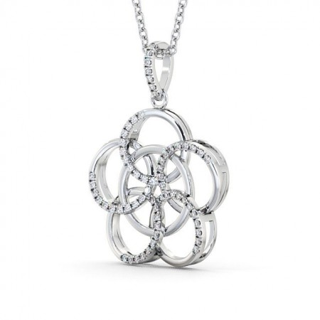 Open rings diamond cluster drop pendant PNT73 Image