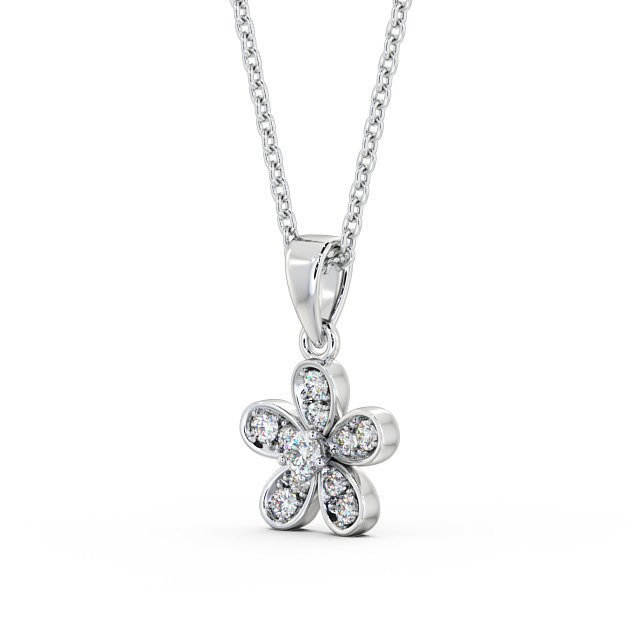 Flower center diamond and cluster drop pendant PNT87 Image