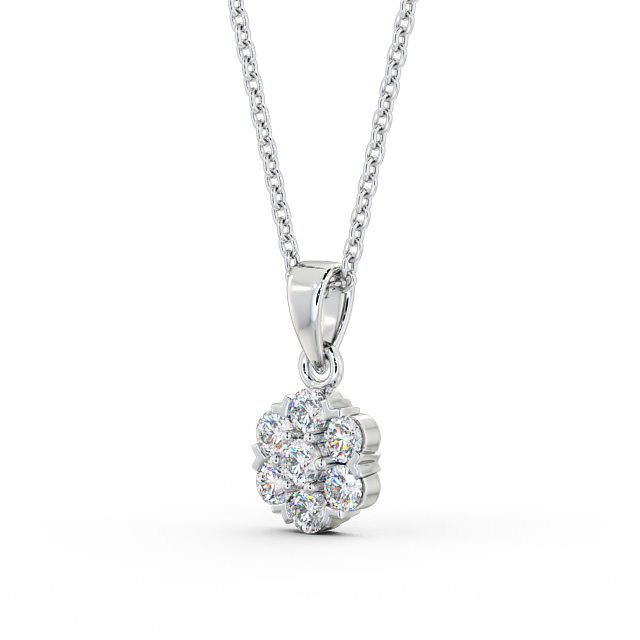 Round center diamond and cluster drop pendant PNT88 Image