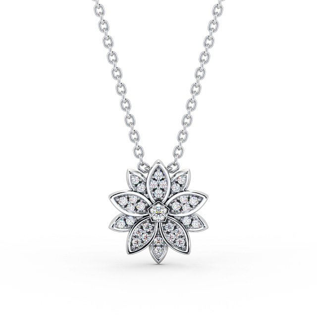 Star center diamond and cluster drop pendant PNT89 Image