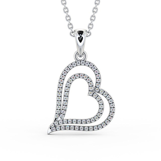 Angled open hearts diamond cluster pendant PNT94 Image